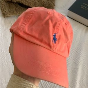 Pink Polo hat with blue logo! ✨